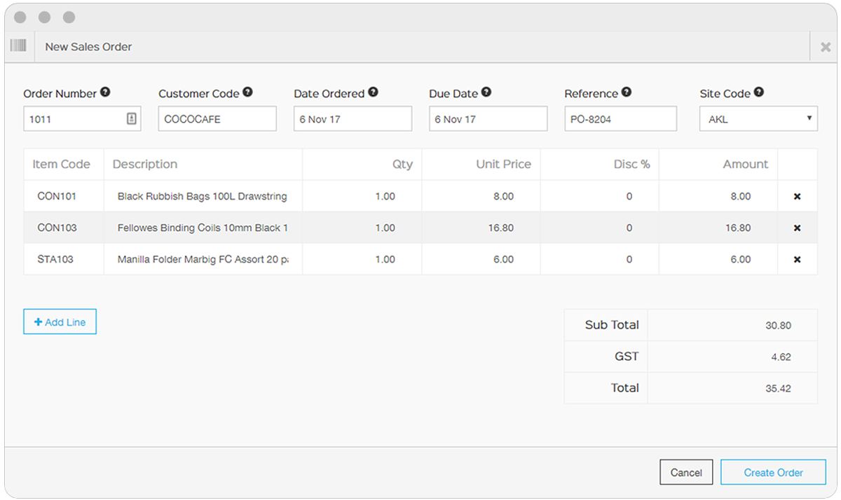 create sales orders on the EZEMobile Dashboard
