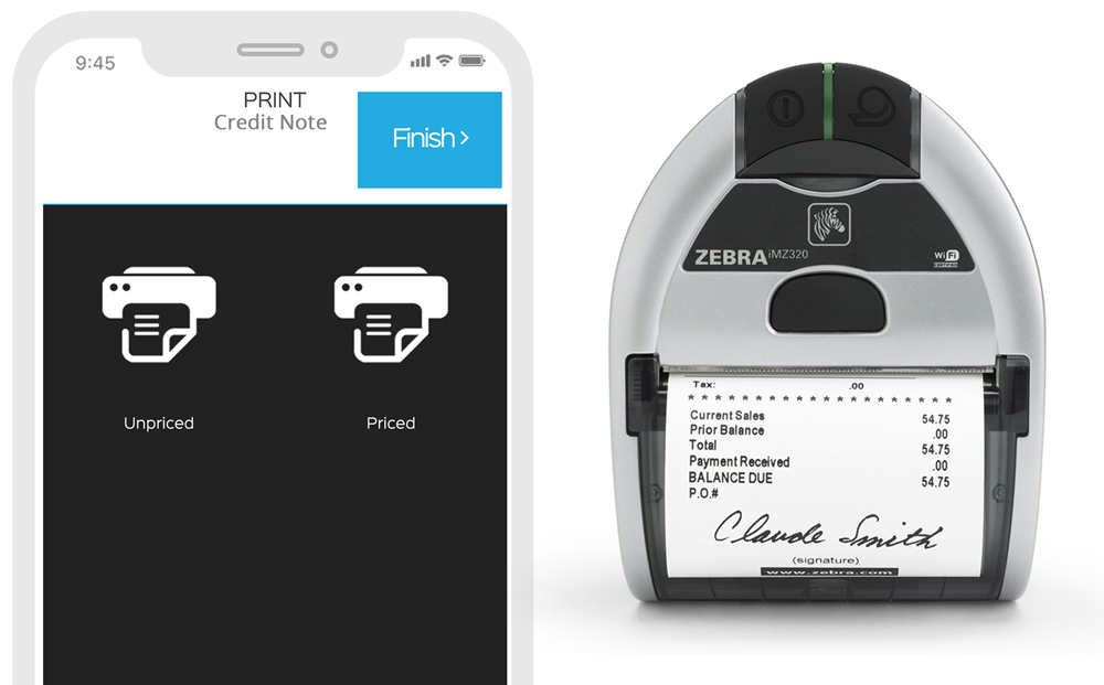 Print credit notes on-site by pairing to a bluetooth printer