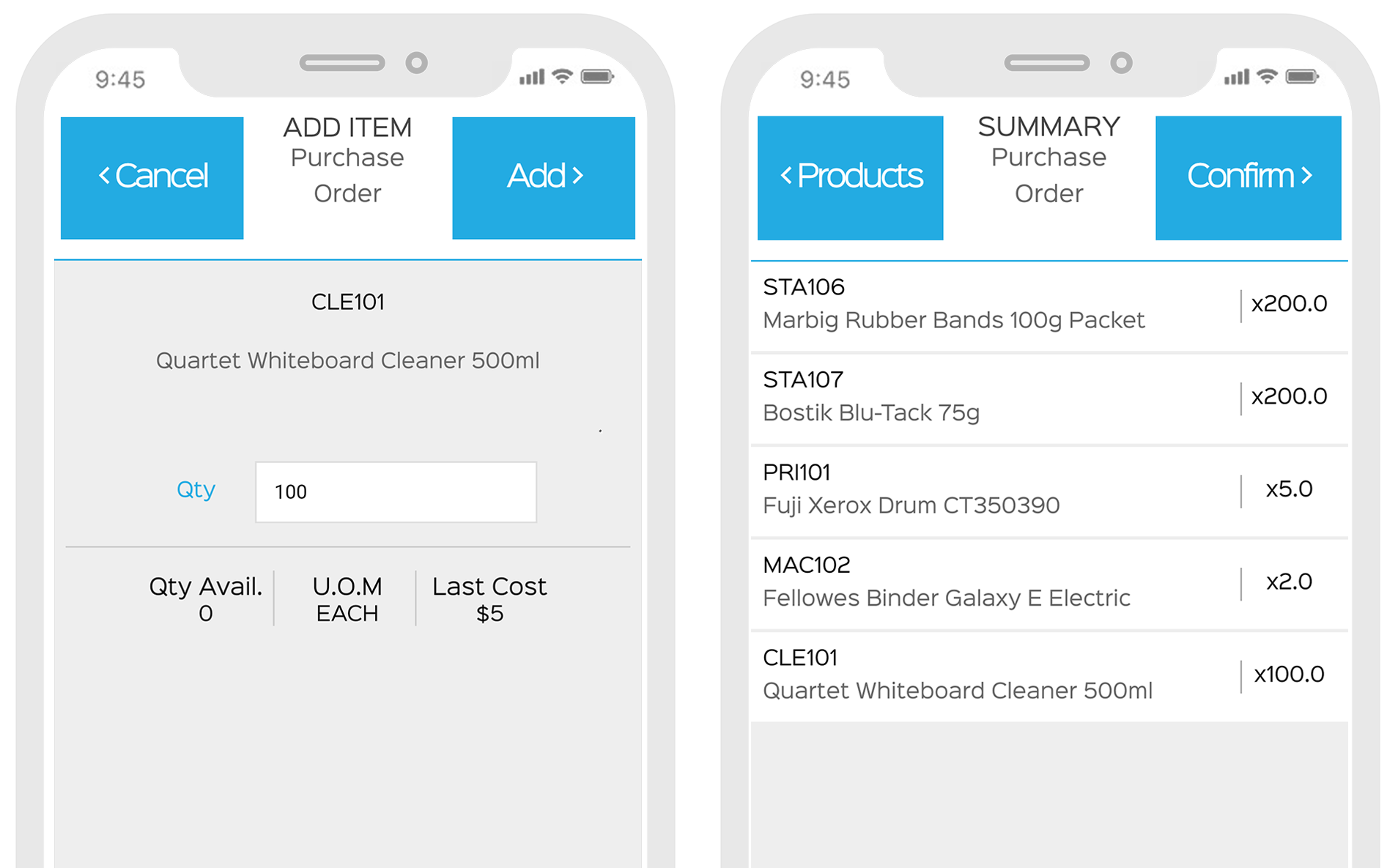 create purchase orders in the EZEMobile app by barcode scanning products