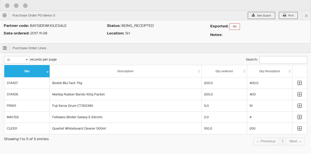 View created purchase orders on the dashboard