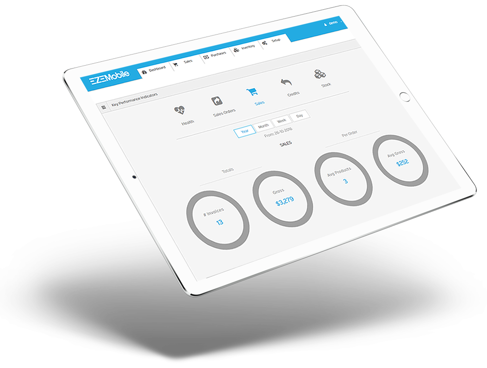 Dashboard Devices for cloud inventory mangement software- EZEMobile New Zealand